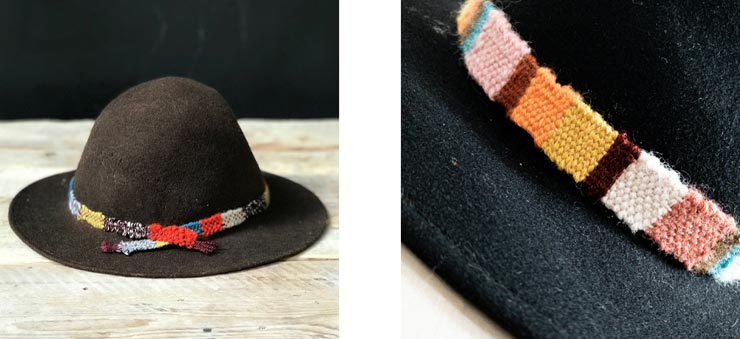 Black fedora with el hoBo handwoven wool hatband and Brown hat with hand woven hat band